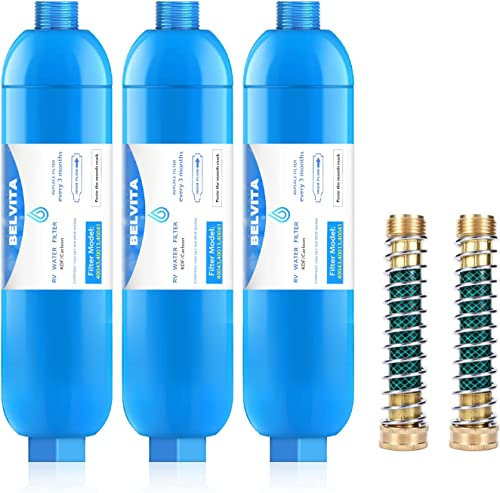 high quality BELVITA RV Inline Marine Water Filter, 2021 Reduces Chlorine, Bad Taste&Odor for RVs,NSF Certified with Flexible Hose Protector outlet sale (Pack of 3) outlet sale