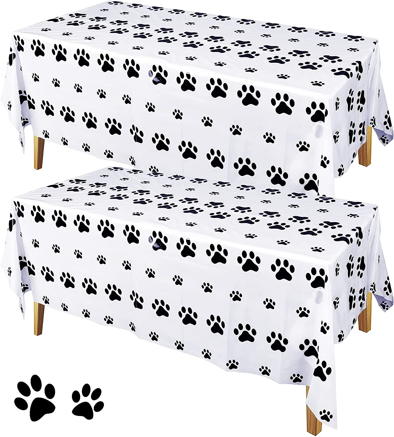 loraleo 2 Pieces half Dog Paw Print for Birt Ranking TOP8 Tablecloths Animal Party