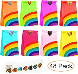 48pcs Rainbow Party Favor Bags Small Gift Gags Bulk Kraft Paper Party Gift Bags for Kids Birthday Party Favor Candy Gift Bags with 50 Stickers
