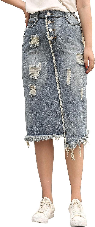 ebossy Women's Elastic High Waist Fringed Hem Ripped Asymmetric Midi Denim Jean Skirt Plus Size