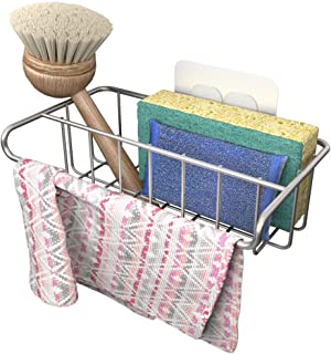 Adhesive Sink Organizer Sponge Holder+Dish Cloth Hanger, 2 in 1, Ideal for Removable Hanging Sink Caddy Brush Holder or Ad...
