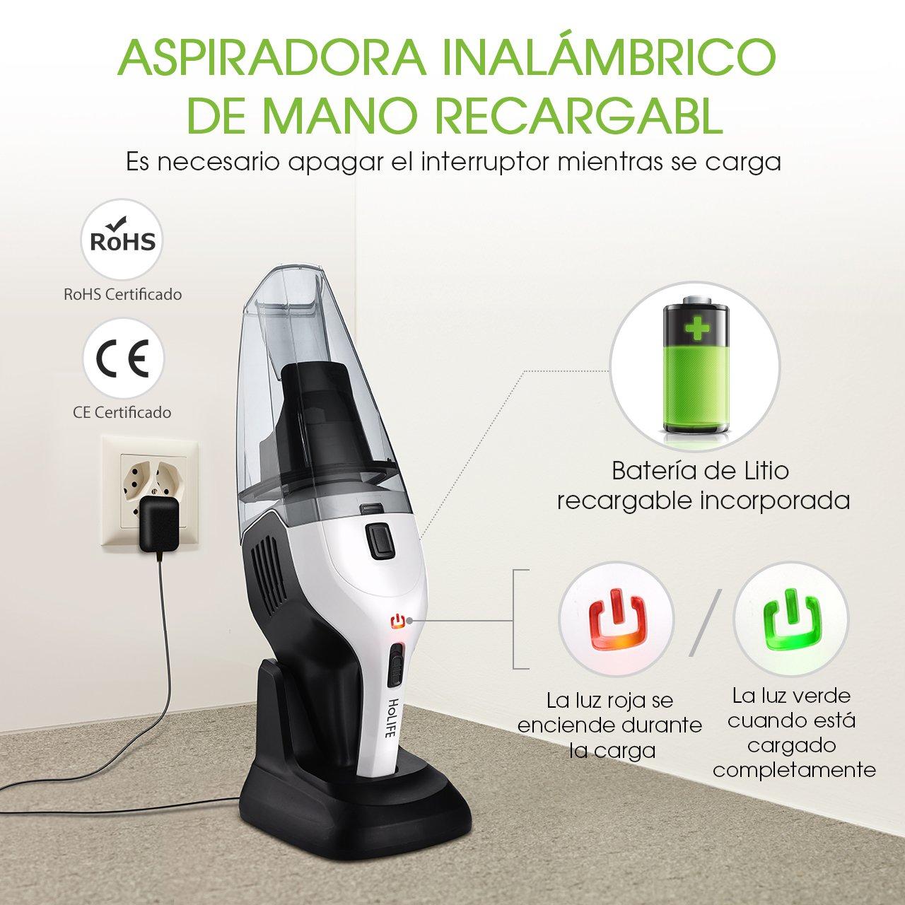 Holife Aspiradora Inalámbrica de Mano con 2 Filtros Limpiador de ...