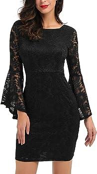 Noctflos Elegant 3/4 Bell Sleeve Floral Lace Cocktail Party Dress