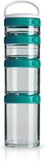 BlenderBottle C02502 GoStak Twist n' Lock Storage Jars, 4-Piece Starter Pak, Teal