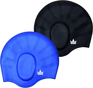 The Friendly Swede Silicone Long Hair Swim Caps - Durable Silicone Swimming Caps for Women Men Adults Kids (2 Pack)
