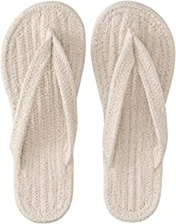 Muji Men's A8s0023 Indian Cotton Room Sandal, Ecru, X-Large