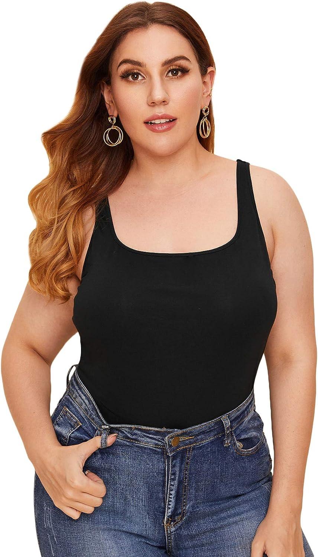 Floerns Women's Basic Plus Size Scoop Neck Sleeveless Solid Tank Top