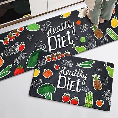 Juego de alfombras de cocina con diseño de frutas y verduras, 2 piezas, de microfibra, antideslizantes, para cocina, con resp