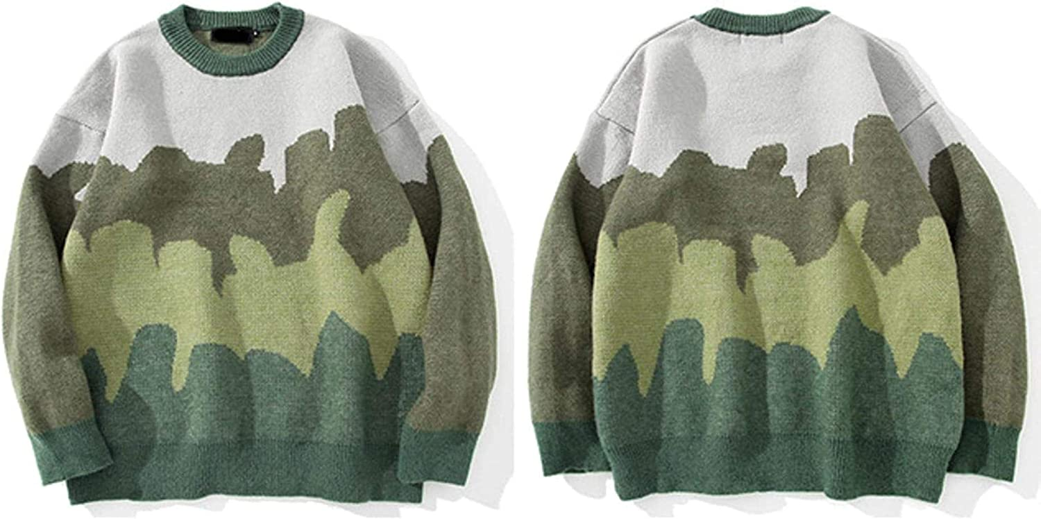 WSBD Men Hip Hop Oversized Knitted Jumper Sweaters Camouflage Streetwear Loose Casual Pullovers