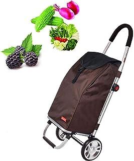 FGDSA Shopping Cart Folding Carriage Household Portable Shopping Cart Tie Rod 180° Folding Large Capacity 57L Small Push-P...