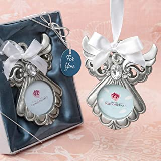 Silver Tone Guardian Angel Ornament with Picture Frame, 3 1/2 Inch