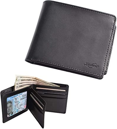 Zodaca Genuine Leather Bifold Wallets for Men w/2 ID Windows, Left-Flip Slim Classic Multi Money & Credit Card Case Holder w/High Capacity, Minimalist & Stylish Gift for Him, Black