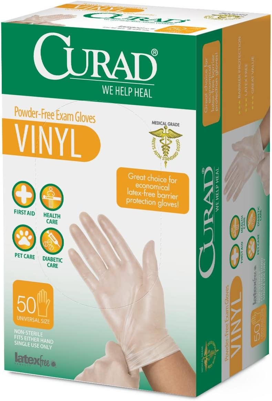 National products 6CUR4035R - Medline CURAD Bombing new work Powder-Free Onl Vinyl Exam CA Gloves