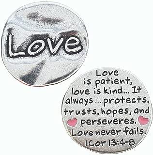 Pewter Scripture Pocket Token: Love I Corinthians 13:4-8 - 1 1/8