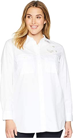 Plus Size Bullion-Patch Poplin Shirt