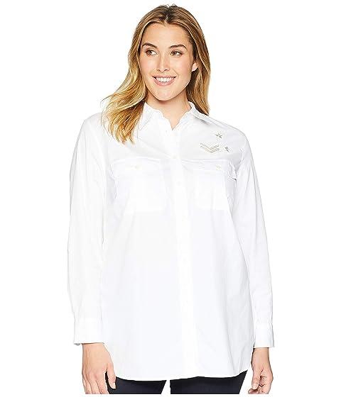 21c75c42fcf LAUREN Ralph Lauren Plus Size Bullion-Patch Poplin Shirt at Zappos.com