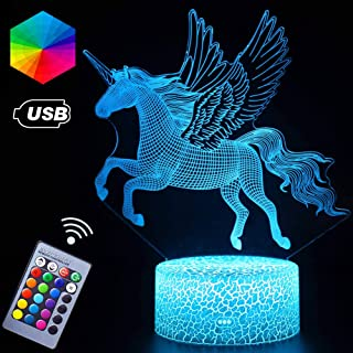 Unicorn Gifts Lights 3D Vision Effect Nursery Babe LED Night Light Remote Control & 16 Colors Switch Night Guidance Bday Christmas Gift Ideas for Girls Bedroom (Unicorn Angel)