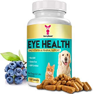 Eye Vitamins for Dogs & Cats – Natural Cat & Dog Supplement w/ Beta Carotene, Lycopene, Bilberry, CoQ10, Vitamin A, Grape Seed Extract & Amino Acids for Vision Health, Cell Growth & Better Circulation