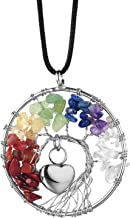 IMEIM Tree of Life with Urn Heart Cremation Urn Necklace Pendant Crystal Gemstone in Loving Memory