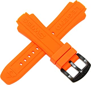 Swiss Legend 24MM Orange Silicone Rubber Watch Strap & Black Stainless Buckle fits 44mm Neptune Watch