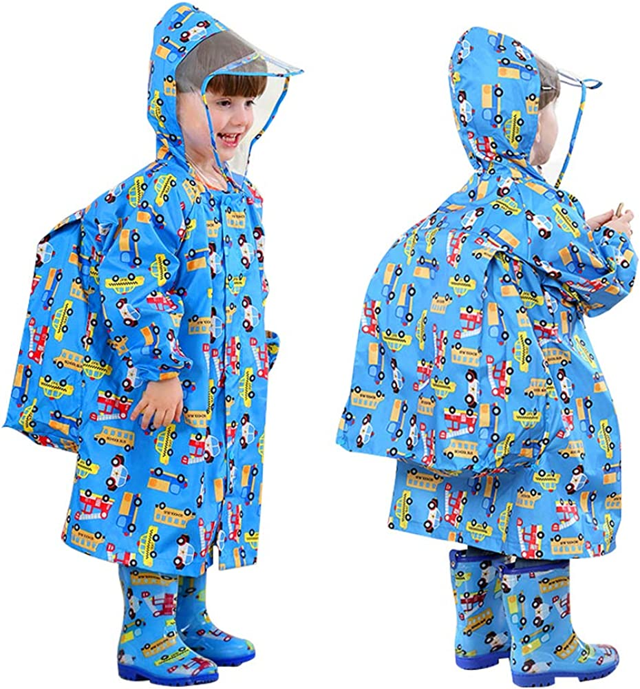 ActionEliters Kids Raincoat Waterproof Hooded Cartoon Rainsuit Children's Schoolbag Rainwear Coverall Toddler Rainwear