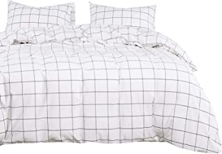 Wake In Cloud - White Grid Duvet Cover Set, 100% Washed Cotton Bedding, White with Black Grid Geometric Pattern Printed, with Zipper Closure (3pcs, Queen Size)
