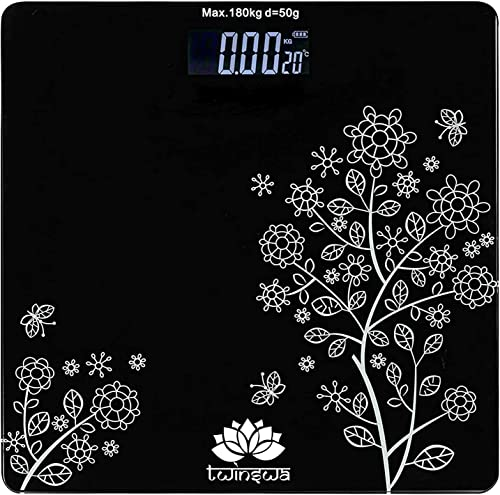 TWINSWA Electronic Thick Tempered Glass LCD Display Digital Personal Bathroom Health Body Weight Scales For Body Weight Weight Scale Digital For Human Body Weight Machine For Body Weight Flower