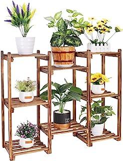 フラワースタンド プランターラック 木製 鉢 盆栽 棚 花台 フラワーラック 植木鉢 台 盆栽 園芸 ラック 屋外/室内 幅84x高さ70cm 耐荷重53kg ガーデンラック