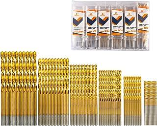 """INTOO Mini Drill Bit Set 60 Pcs+12 Pcs Free High Speed Steel HSS Titanium Micro Drill Bits 3/64""""-1/8"""" Metal,Plastic,Wood D..."""
