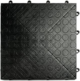 GarageDeck Coin Pattern, Durable Interlocking Modular Garage Flooring Tile (48 Pack), Black