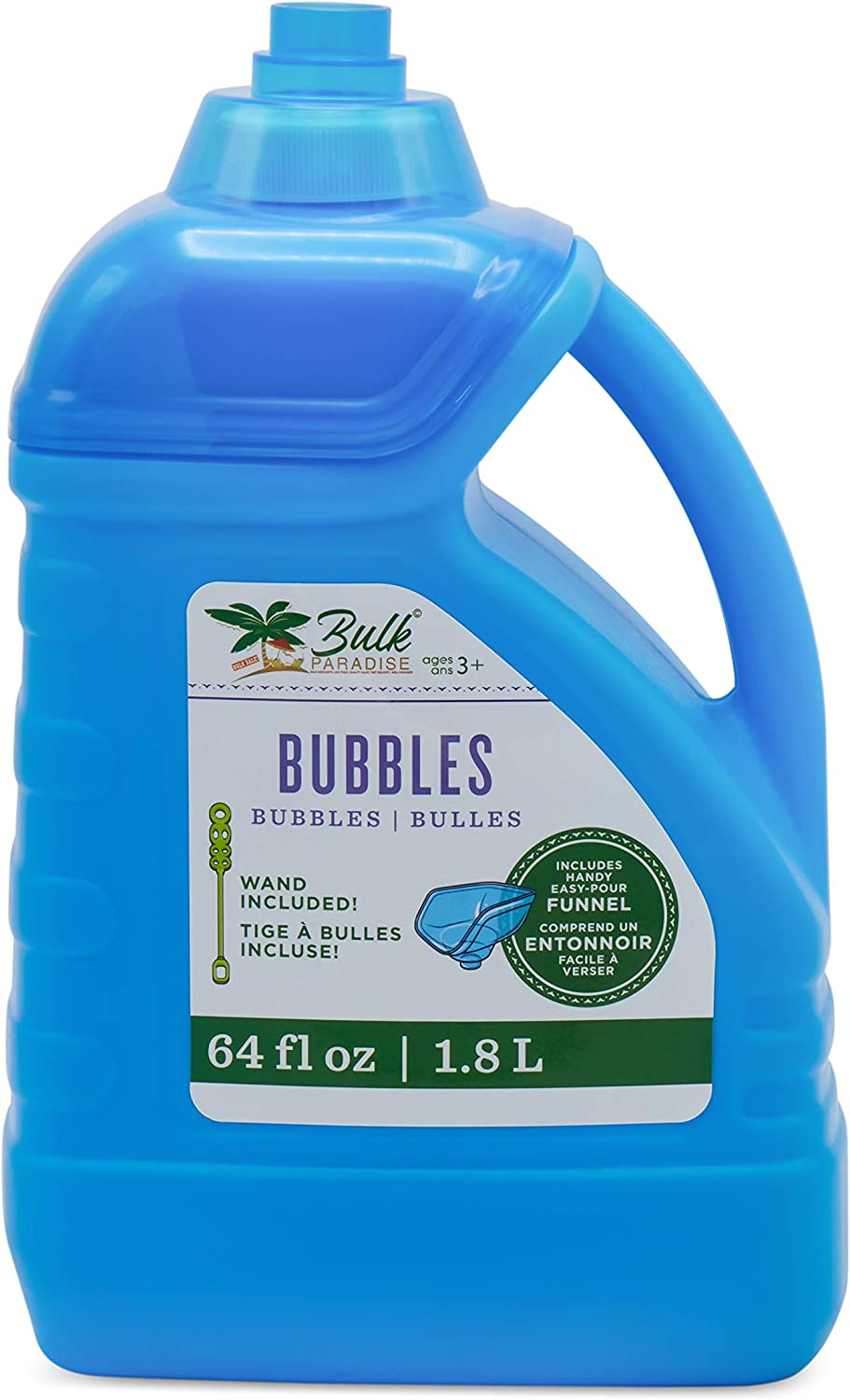 BULK PARADISE 64-Ounce Bubble Refill Solution with Wand and Easy