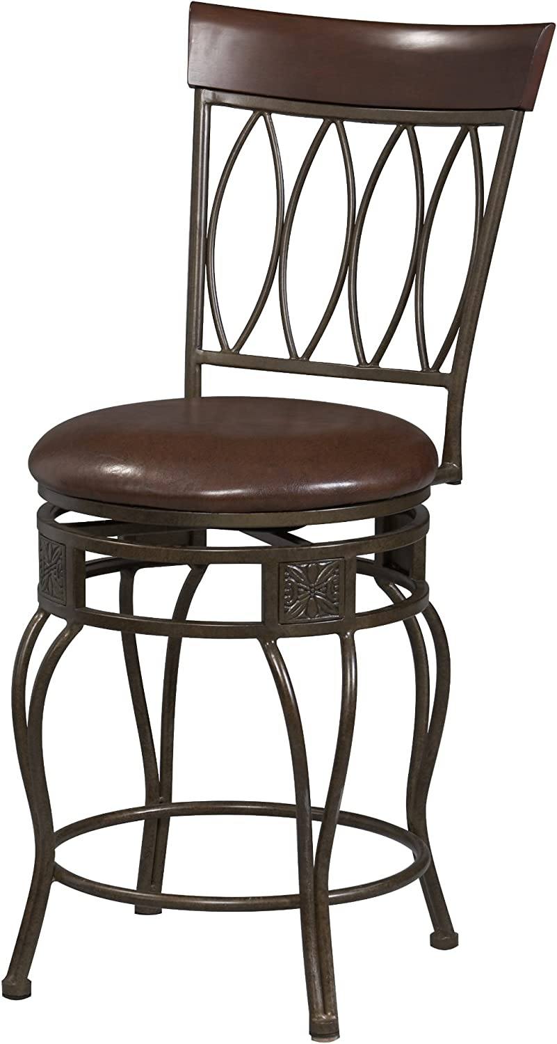 Linon Home Decor Four Oval Back Counter Swivel Stool, 24-Inch