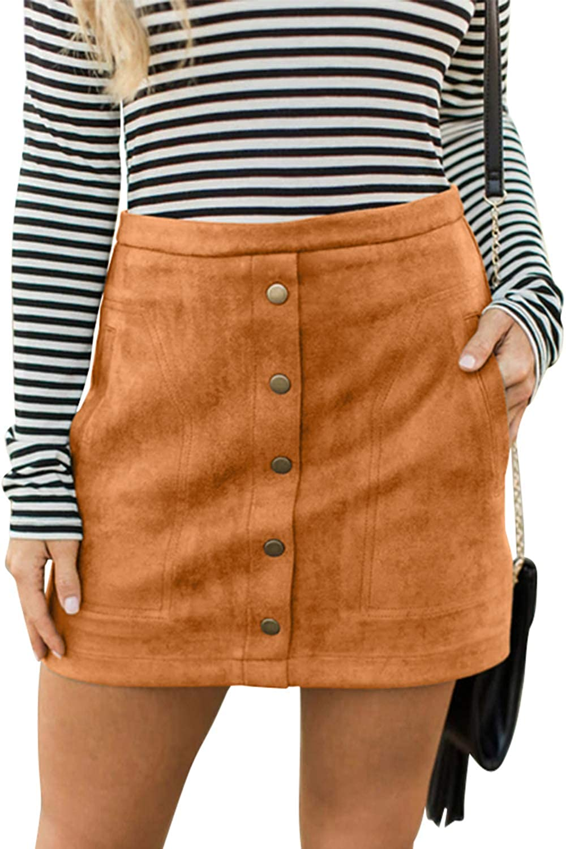 Meyeeka Women's Button Front Faux Suede High Waist Aline Mini Skirt with Pocket