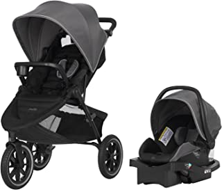 Evenflo Folio3 Stroll & Jog Travel System w/LiteMax 35 Infant Car Seat, Crossover Versatility, Ultra-Compact, Self-Standin...