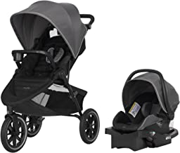 "Evenflo Folio3 Stroll & Jog Travel System w/LiteMax 35 Infant Car Seat, Crossover Versatility, Ultra-Compact, Self-Standing Folding Design, 12"" Air-Filled Tires, Front Wheel Swivel Lock, Avenue Gray"