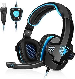 GHB Sades Auriculares Gaming Cascos con Microfono SA-901 Sonido Envolvente 7.1 con USB para PC Ordenador Portátil Azul y N...