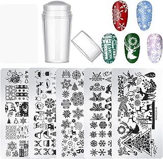 DKAF 7pcs Christmas Nail Art Templates Kit with 5 Nail Stamping Plate 1 Stamper 1 Scraper, Christmas Pattern for DIY & Salon Nail Art, Perfect for Winter and Xmas Nail Art Stencils