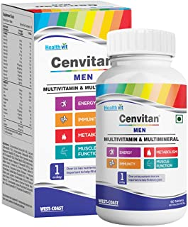 Healthvit Cenvitan Men Multivitamin & Multimineral with 24 Nutrients (Vitamins and Minerals) | Anti-Oxidants, Energy, Meta...