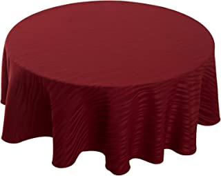 Deconovo Decorative Jacquard 54 inch Round Tablecloth Wrinkle and Water Resistant Spill-Proof Tablecloths Vibrant Waves for Round Table Burgundy Red