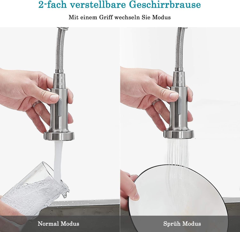 Silber Mischbatterie aus Edelstahl K/üchenarmatur Wasserhahn mit Brause Einhebelmischer Sp/ültischbatterie 360/° schwenkbar Sp/ültischarmatur