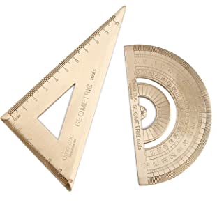 BoomYou Retro Brass Math Protractor and Triangle Ruler Set Geometry Standard Protractor Triangular Scale Math Kit Student School Office Angle Measurement Supplies