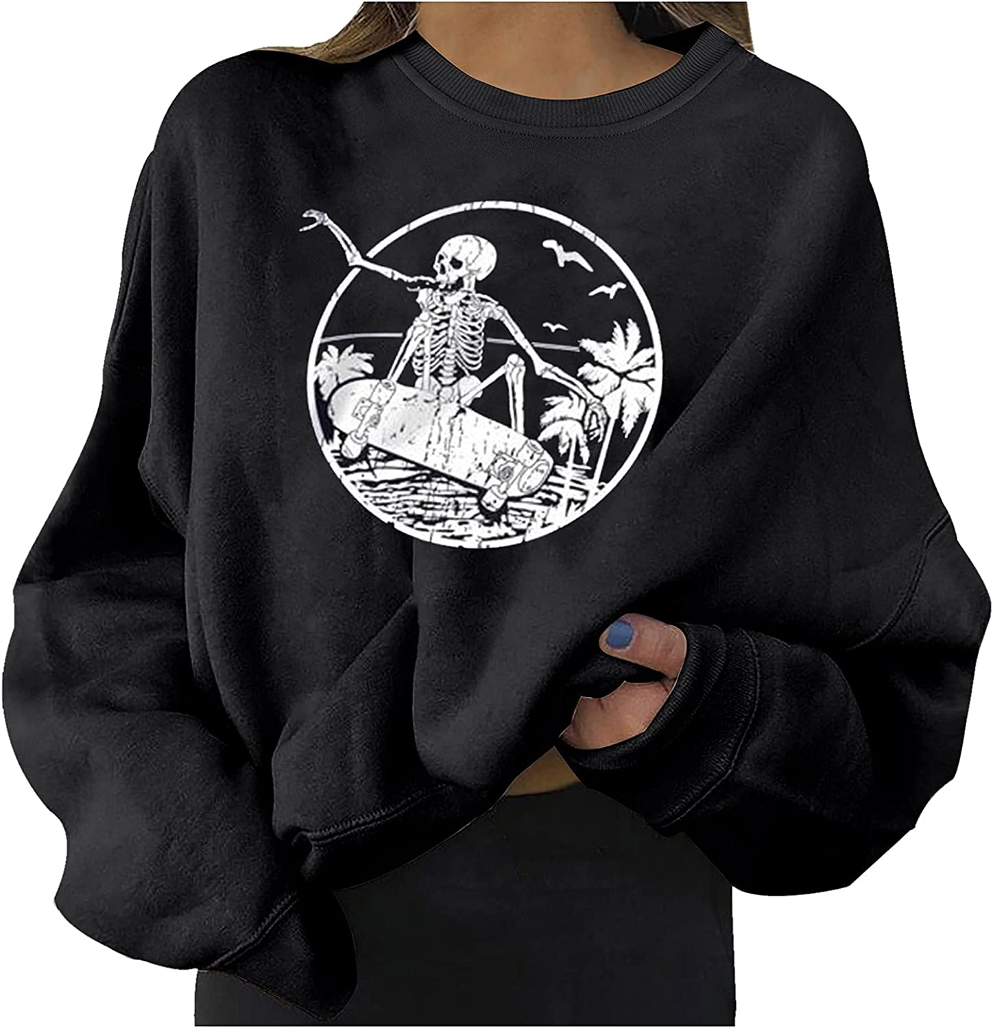 Sweatshirts for Women Graphic Print Loose Halloween Long Sleeve Pullover Tops Blouses Baseball Tee Shirts for Autumn Winter