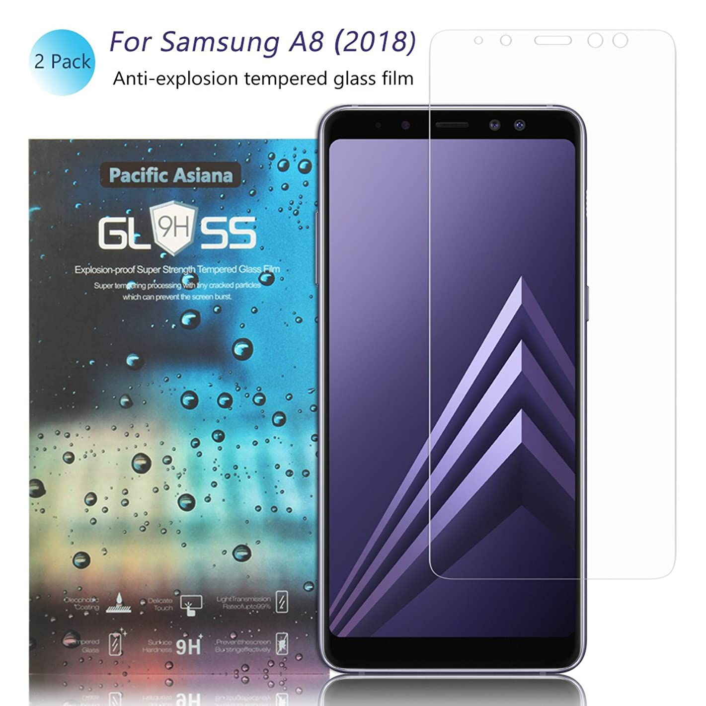 [2-Pack] A8 2018 Screen Protector, Pacific Asiana Ultra Thin HD Clear Ballistic [9H Hardness][Anti-Scratch][Bubble-Free][Shockproof][Anti-Fingerprint] Tempered Glass for Samsung Galaxy A8 2018/A530F
