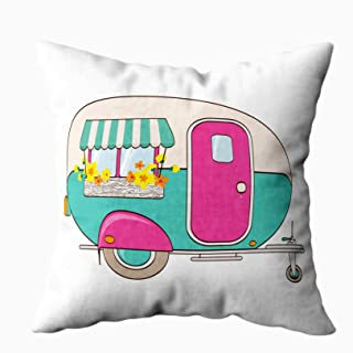 My Pillow Case Throw Pillows,Musesh cute Pink And Turquoise Window With Flower print Papers an awning boxes. illustration. fabric, clothes, For Sofa Home Decorative Pillowcase 16X16Inch Pillow Covers