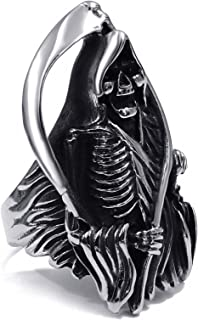 Mens Boys Stainless Steel Biker Ring Band Skull Grim Reaper Anarchy Jewelry Size 8-13