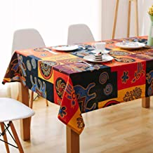 Bringsine Square Cotton Linen Fashion Mayan Culture Printed Washable Tablecloth Vintage Oblong Dinner Picnic Table Cloth Home Decoration(Square, 36 x 36 Inch)