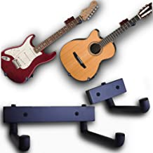 RawRock Horizontal Guitar Hanger Tilt and Display Your Guitar, Ukulele, Bass, Electric Guitar, Banjo at a Slanted Angle Sideways - Hang for easy access (Black Stain)
