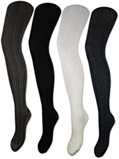 sockenkauf24 Women's Tights Cotton Knitted Tights Black White Anthracite Grey 10717