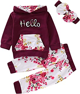 1-5Y Baby Girls Floral Hoodie Hooded Tops + Pants + Headband Outfits Clothes Set