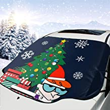 ENXIANGXIJ Dexters Lab Around The Christmas Tree Car Windshield Snow Cover, Ice Removal Sun Shade, Fit for Universal Cars (58'' X47'')